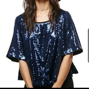 Bnwt free people  blue sequins  night fever top
